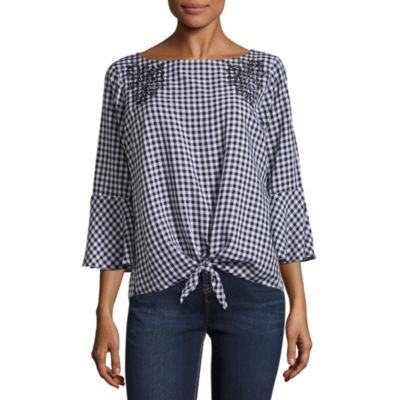 Alyx 3/4 Sleeve Boat Neck Woven Embroidered Blouse