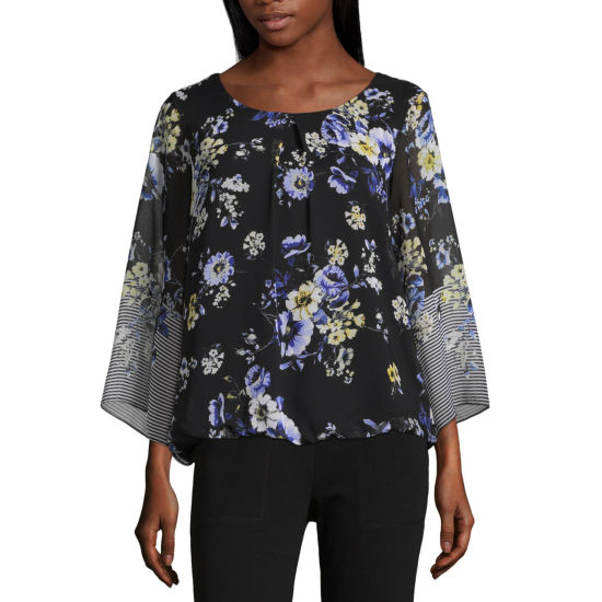 Alyx 3/4 Sleeve Round Neck Woven Blouse