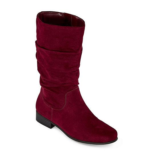east 5th Womens Jarrett Slouch Block Heel Wide Width Wide Calf Boots
