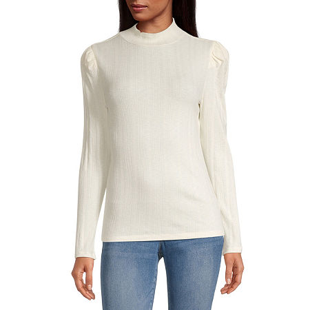 a.n.a Womens Long Sleeve Mock Neck Top-Tall, Large Tall , Beige