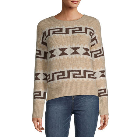 a.n.a. Womens Crew Neck Long Sleeve Pullover Sweater, X-small , Beige