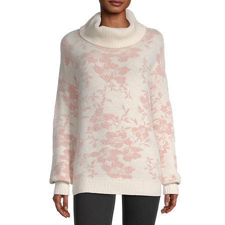 Liz Claiborne Womens Cowl Neck Long Sleeve Floral Pullover Sweater, X-small , White