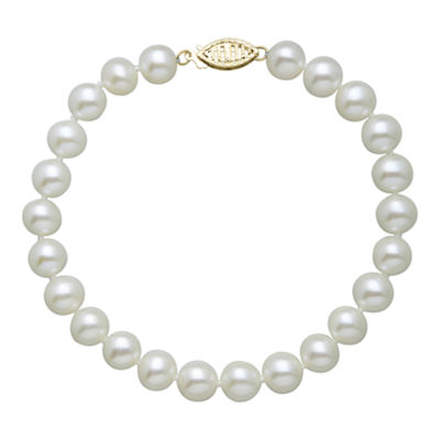 Sofia White Cultured Freshwater Pearl 14K Gold Beaded Bracelet