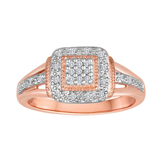 1/10 CT T.W. Diamond 14K Rose Gold over Silver Ring