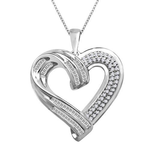 Sterling Silver ½ CT. T.W. Diamond Heart Pendant Necklace