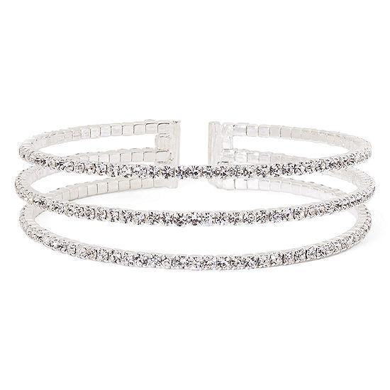 43ec25b943 Vieste® Rhinestone 3-Row Silver-Tone Cuff Bracelet