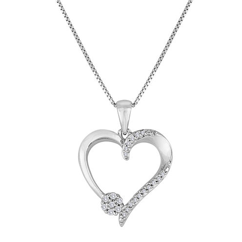 diamond blossom 1/10 CT. T.W. Diamond Sterling Silver Heart Pendant Necklace