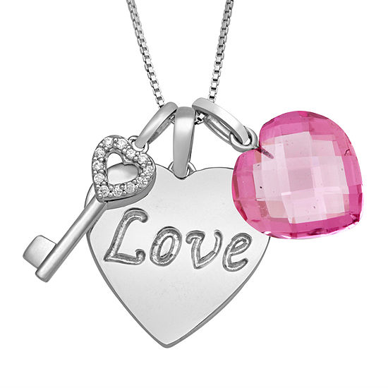 """Simulated Pink Sapphire & Cubic Zirconia Sterling Silver """"Love"""" Heart Pendant Necklace"""