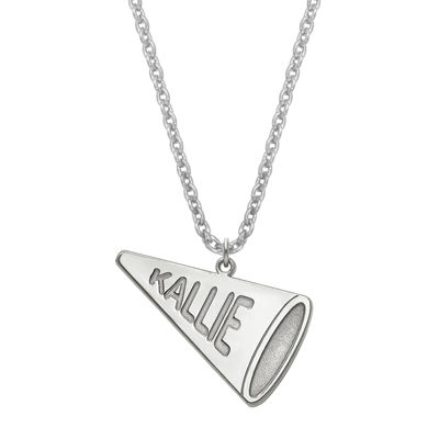 Personalized Sterling Silver Girls Megaphone Name Pendant Necklace