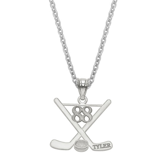 Personalized Name & Number Hockey Pendant Necklace