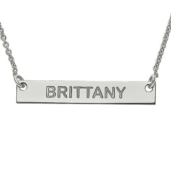 Personalized 4x26mm Block Name Bar Necklace