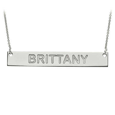 Personalized 7x51mm Block Name Bar Necklace