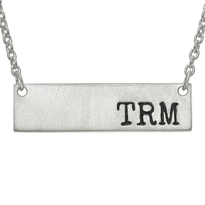 Personalized 9x32mm Initial Monogram Bar Necklace