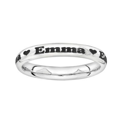 Sterling Silver Personalized Heart Ring