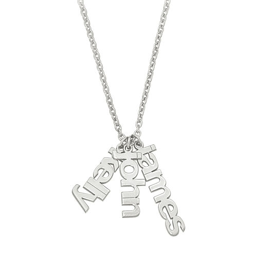 Personalized Three Name Charms Pendant Necklace