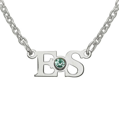 Personalized Birthstone 2 Initial Pendant Necklace