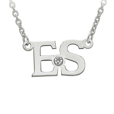 Personalized Birthstone 2 Initial Necklace