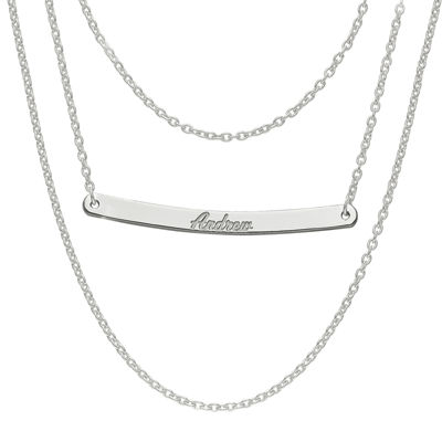 Personalized Sterling Silver Name Bar Necklace