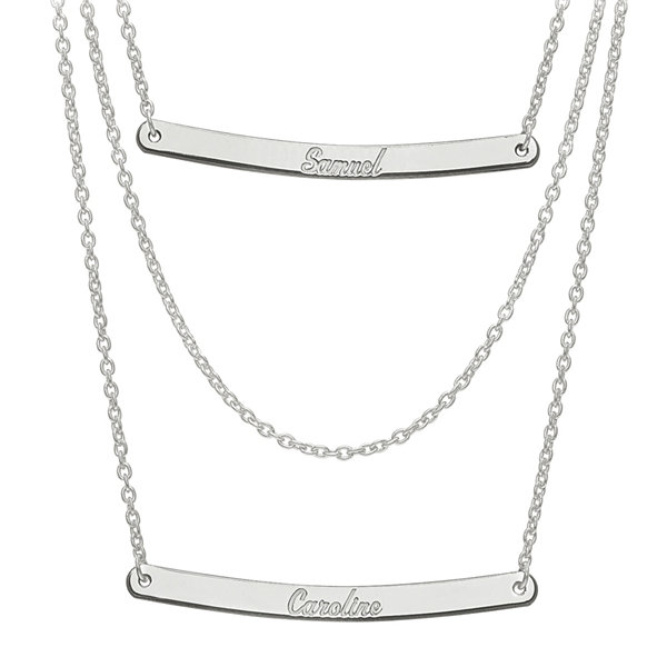 Nexus 20 Triple Bar Pendant: Personalized Sterling Silver 2-Pc.Name Bar Necklace
