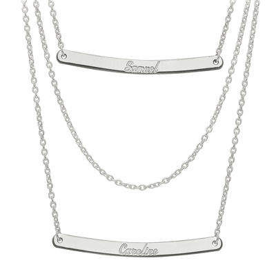 Personalized Sterling Silver 2-Pc.Name Bar Necklace