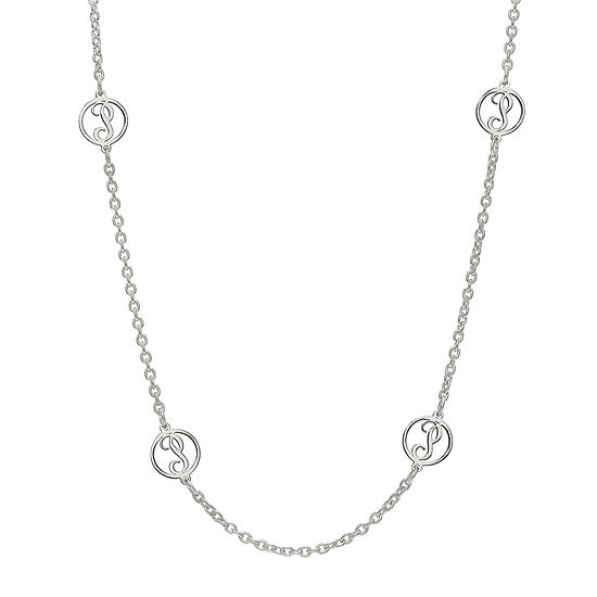 Personalized Sterling Silver Single Initial Station Necklace