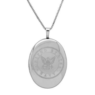 Sterling Silver US Navy Emblem Locket Pendant Necklace