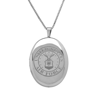 Sterling Silver US Air Force Emblem Locket Pendant Necklace