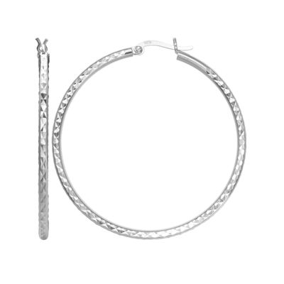 Sterling Silver Diamond-Cut 50mm Hoop Earrings