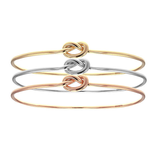 Jcpenney Gold Bracelets: 18K Tri-Color Gold Knot Bangle Bracelet Set