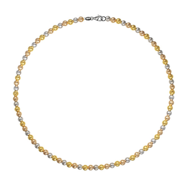 Made in Italy 18K Tri-Color Gold Bead Necklace