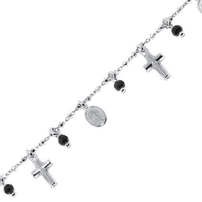 Made in Italy Sterling Silver Black Faceted Bead Cross Necklace