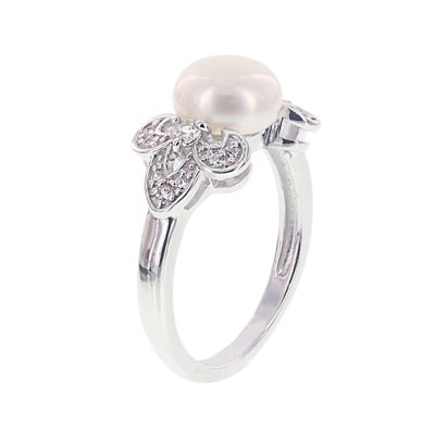 Diamonart® Cultured Freshwater Pearl and Cubic Zirconia Sterling Silver Clover Ring