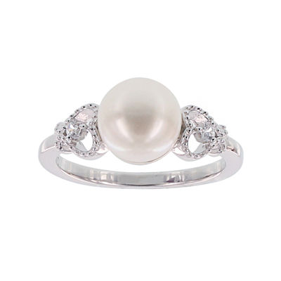 Diamonart® Cultured Freshwater Pearl and Cubic Zirconia Sterling Silver Heart Ring