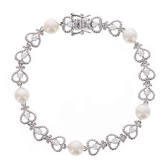 Diamonart® Cubic Zirconia and Cultured Freshwater Pearl Sterling Silver Bracelet