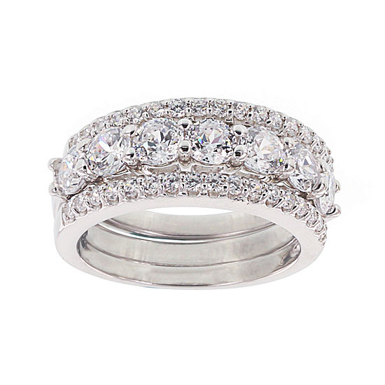 Diamonart Cubic Zirconia Sterling Silver Round Stack Ring Set