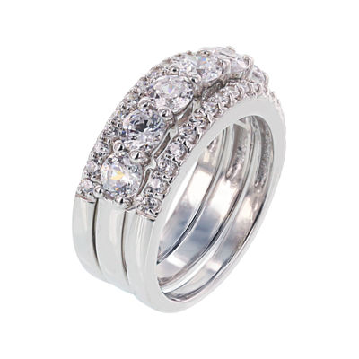 Diamonart® Cubic Zirconia Sterling Silver Round Stack Ring Set