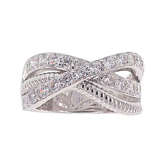 Diamonart® Cubic Zirconia Sterling Silver Criss Cross Ring