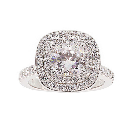 DiamonArt® Cubic Zirconia Sterling Silver Double Halo Ring