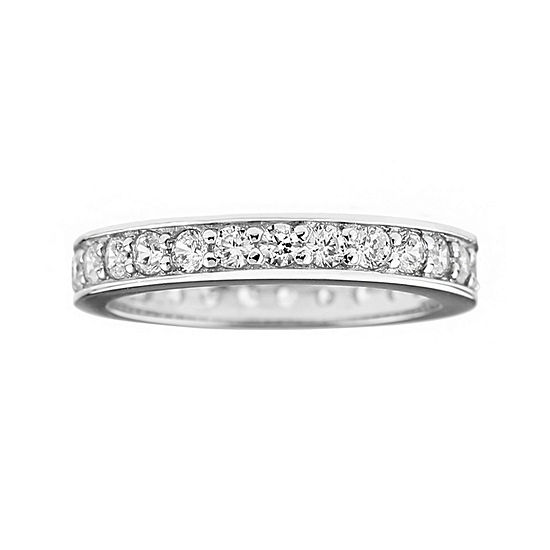 Diamonart® Cubic Zirconia Sterling Silver Eternity Band Ring