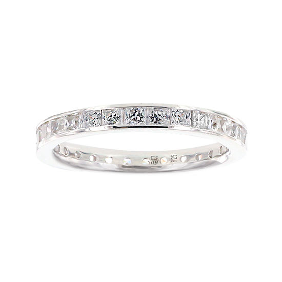 Diamonart Princess Cubic Zirconia Sterling Silver Eternity Band Ring