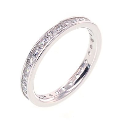 Diamonart® Princess Cubic Zirconia Sterling Silver Eternity Band Ring