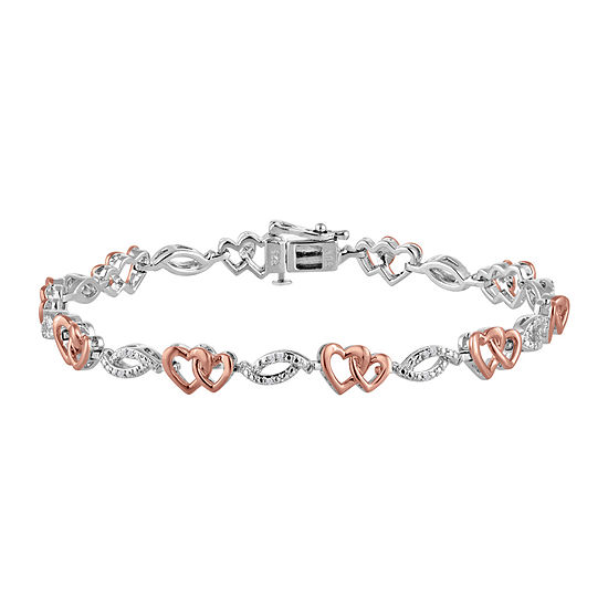 1/10 CT. T.W. Diamond Sterling Silver and 14K Rose Gold Accent Heart Bracelet