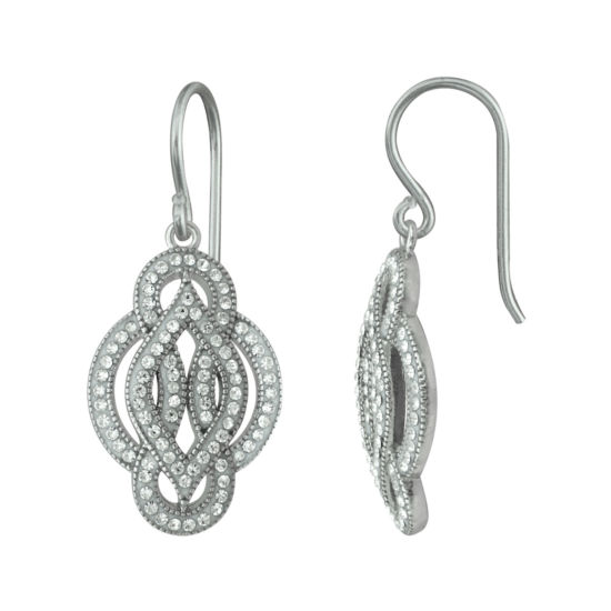 Crystal Sterling Silver Scroll Motif Earrings