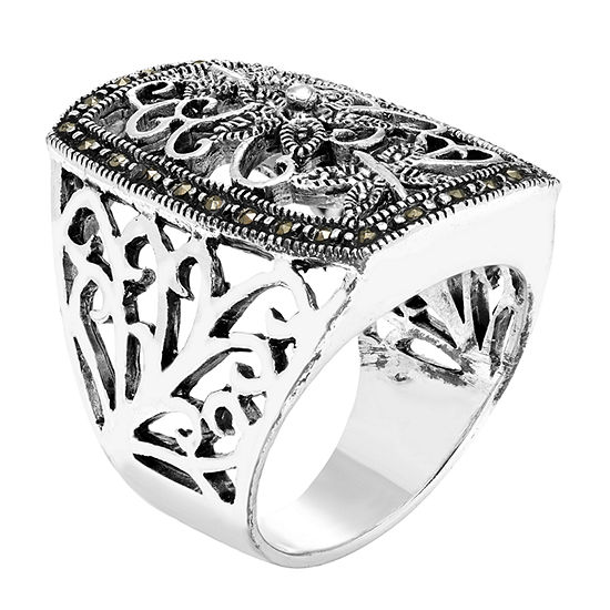 Sparkle Allure Gray Marcasite Pure Silver Over Brass Rectangular Band