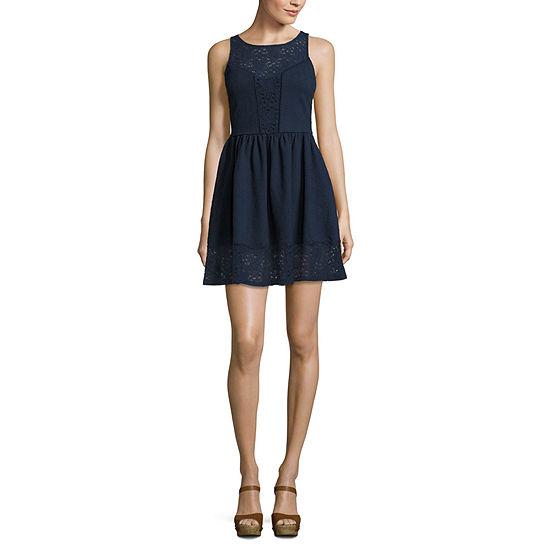Rewind Sleeveless A-Line Dress-Juniors