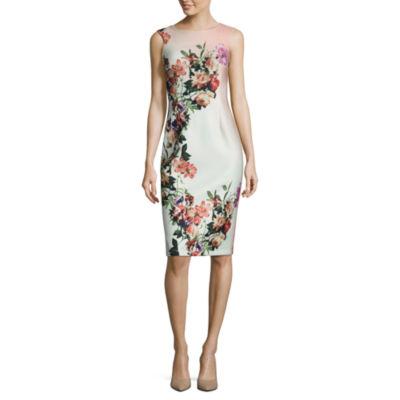 Worthington Sleeveless Floral Sheath Dress