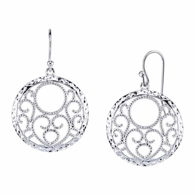 Sterling Silver Circle Drop Earrings
