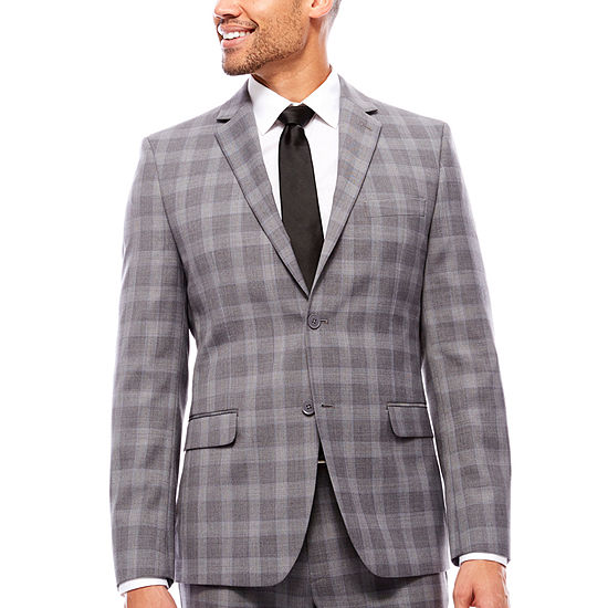 Collection by Michael Strahan  Mens Plaid Slim Fit Suit Jacket