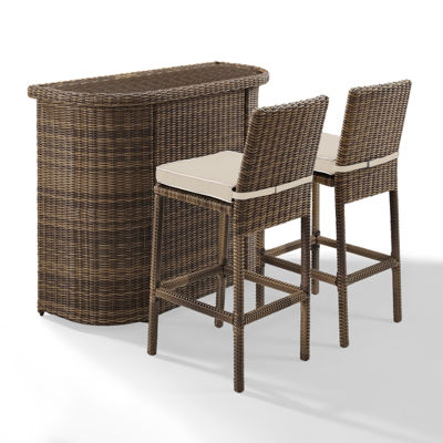 Crosley Bradenton Wicker 3-pc. Patio Bar Set
