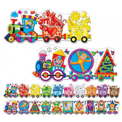 The Learning Journey Puzzle Doubles - Giant Colorsand Shapes Train Floor Puzzles